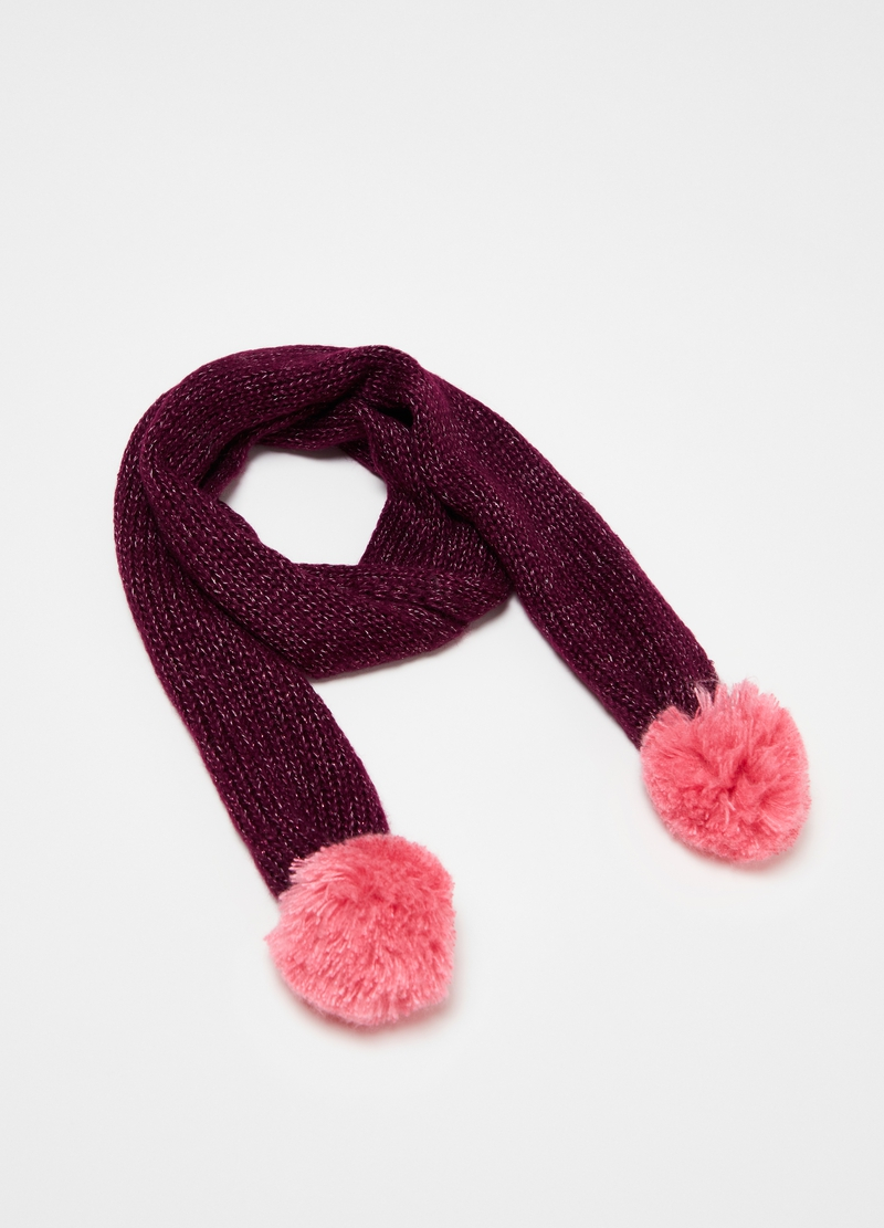 Scarf with lurex and pompoms image number null