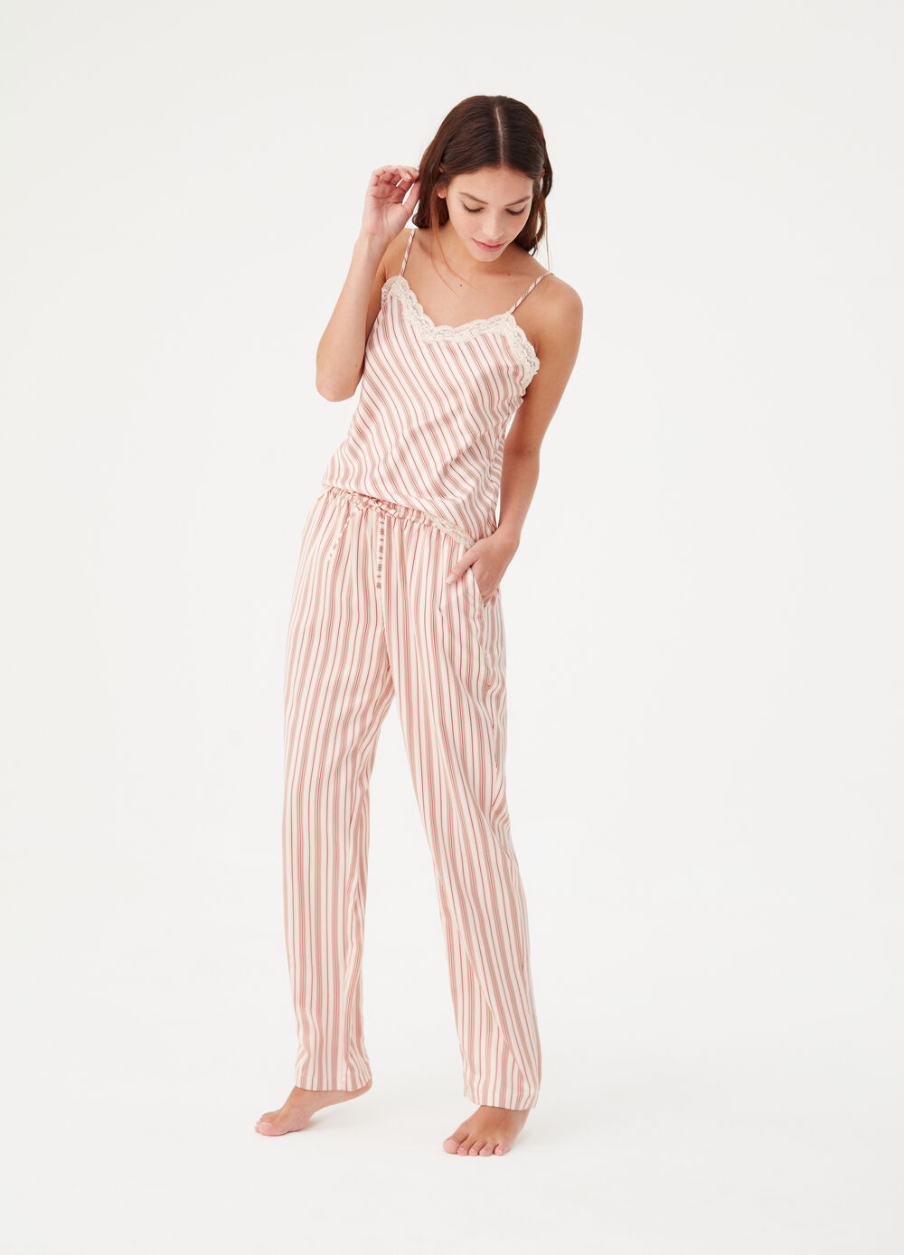 Satin pyjama trousers with pockets