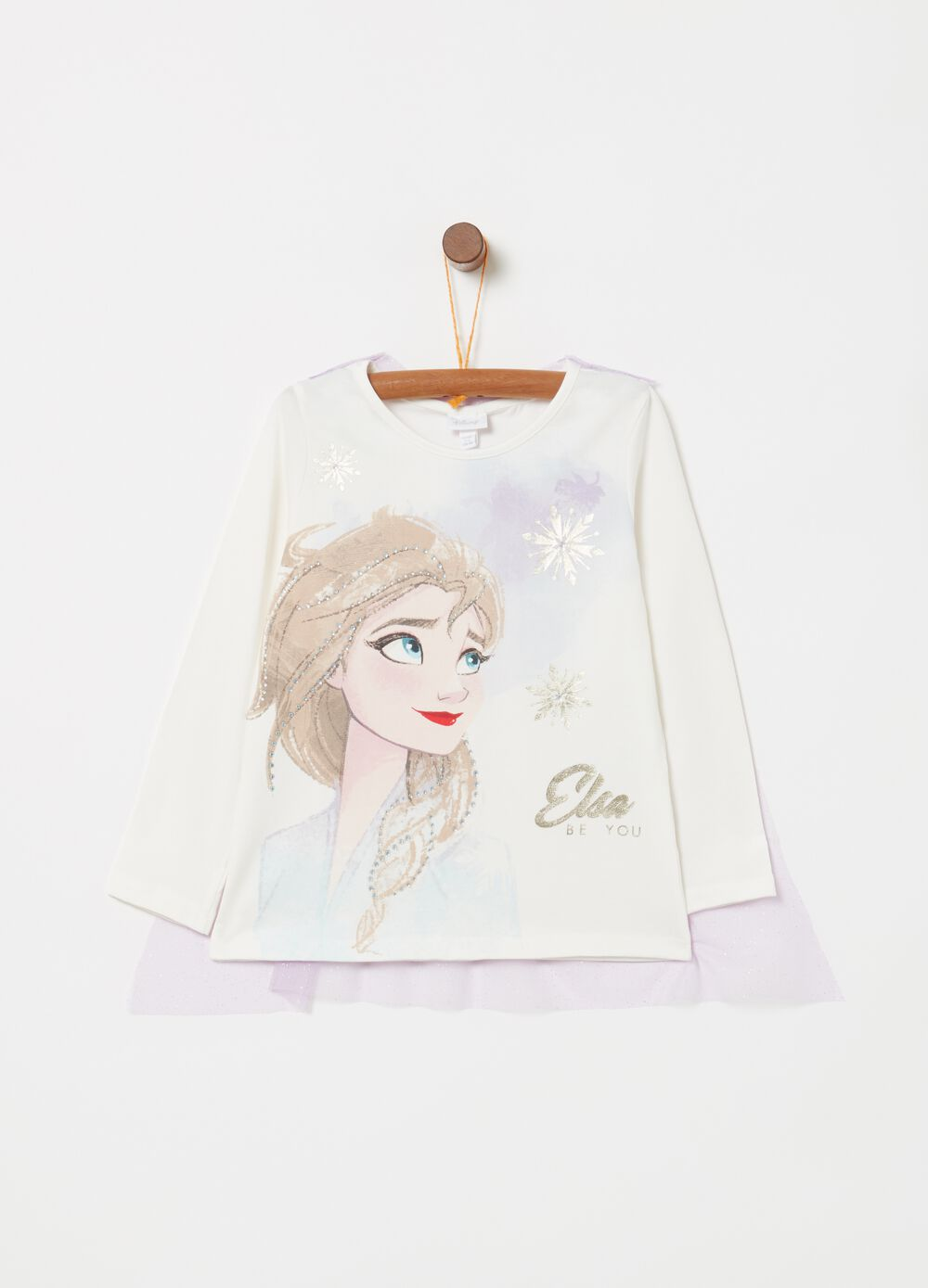 T-shirt con tulle stampa Disney Frozen