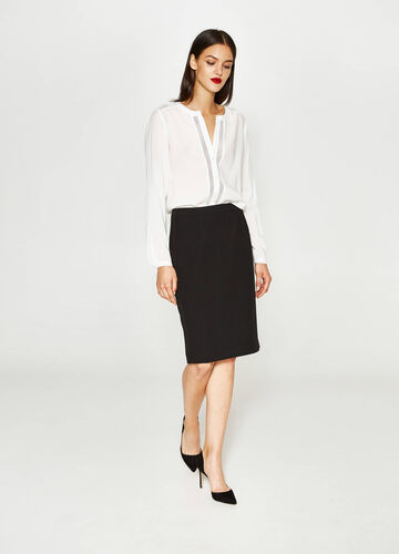Viscose pencil skirt with split