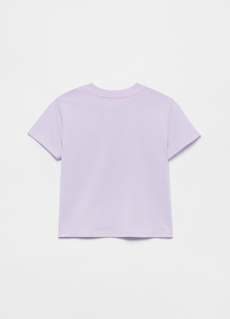 Stretch cotton T-shirt with glitter print image number null