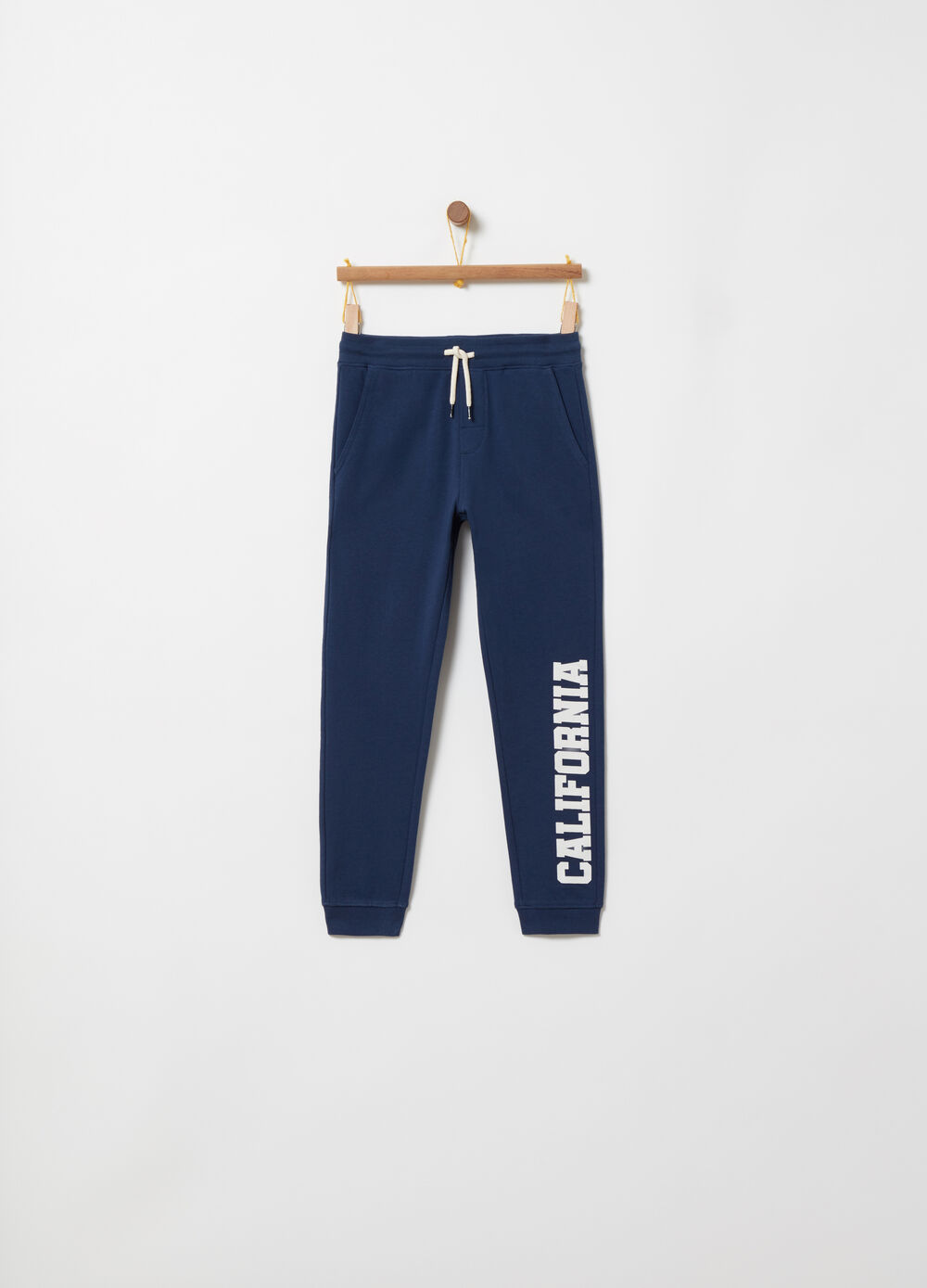 Regular-fit trousers with lettering print