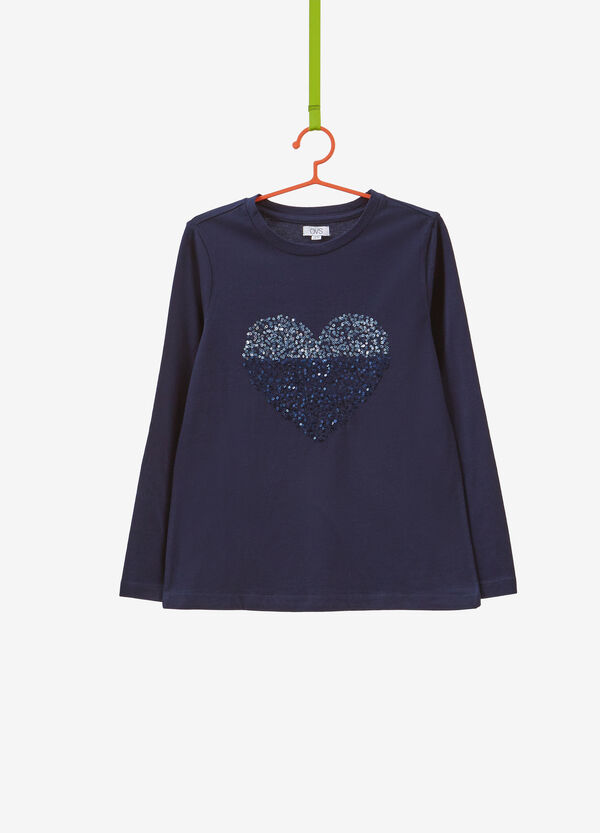 100% cotton T-shirt with heart sequins