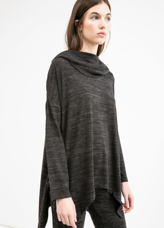 T-shirt in stretch viscose with high neck