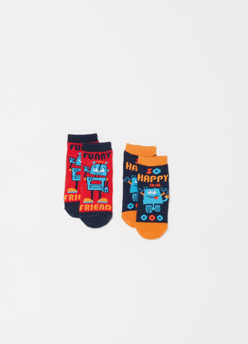 Two-pair pack short socks with Robot motif embroidery image number null