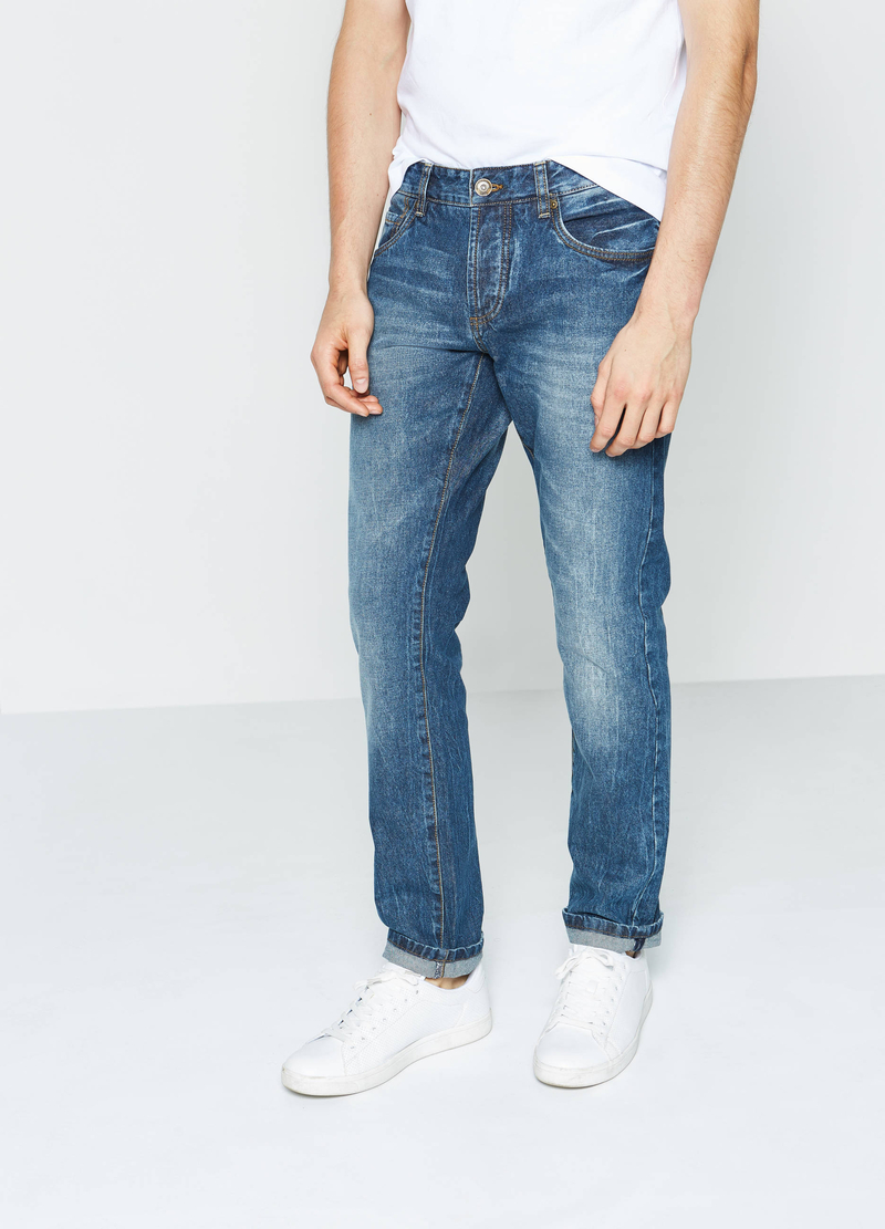 Jeans straight fit used con scoloriture image number null