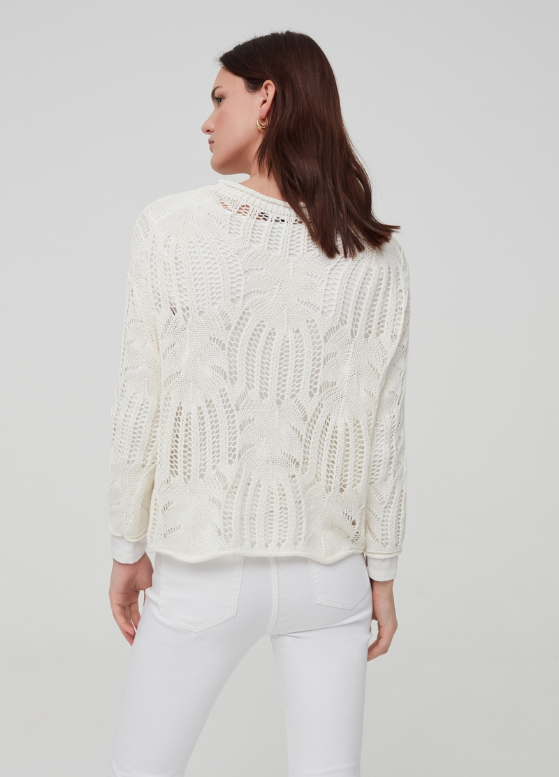 Crochet top with round neck image number null
