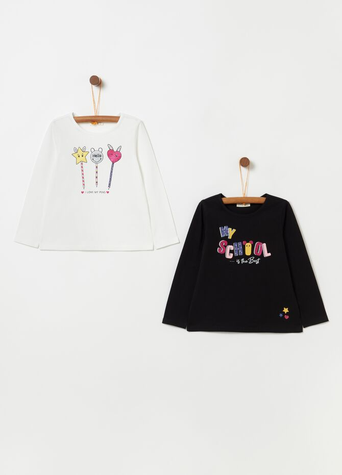 Set due t-shirt con stampa glitter