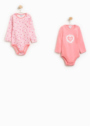 Two-pack 100% cotton printed and heart bodysuits