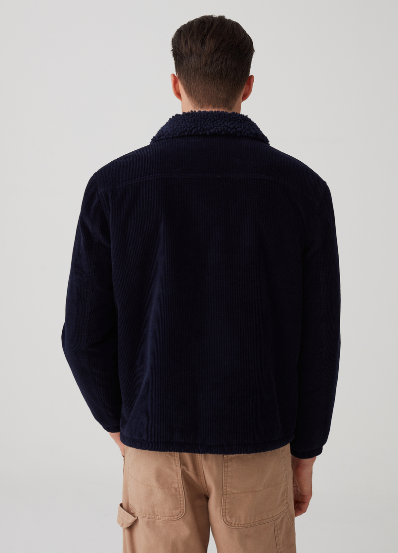 Ribbed jacket and bouclé-effect collar image number null