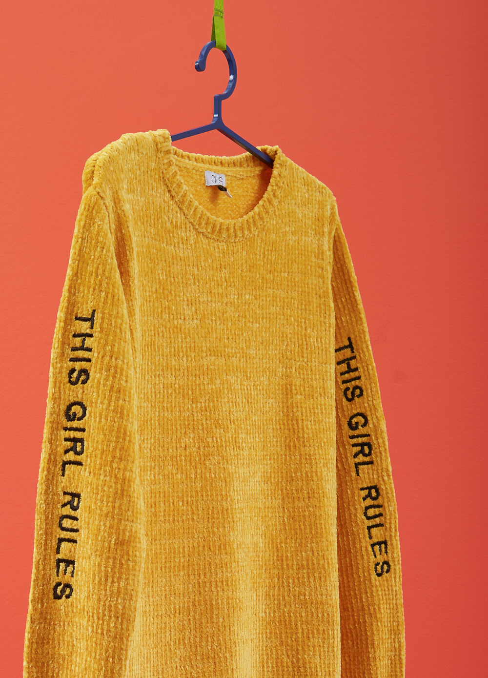 Chenille pullover with lettering embroidery