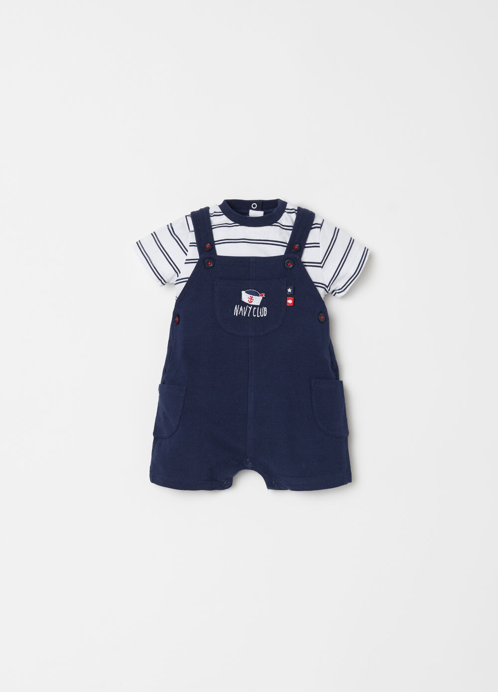 Striped T-shirt and dungarees set with embroidery