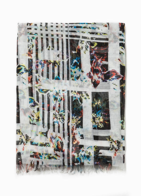 Fringed scarf with pattern | OVS