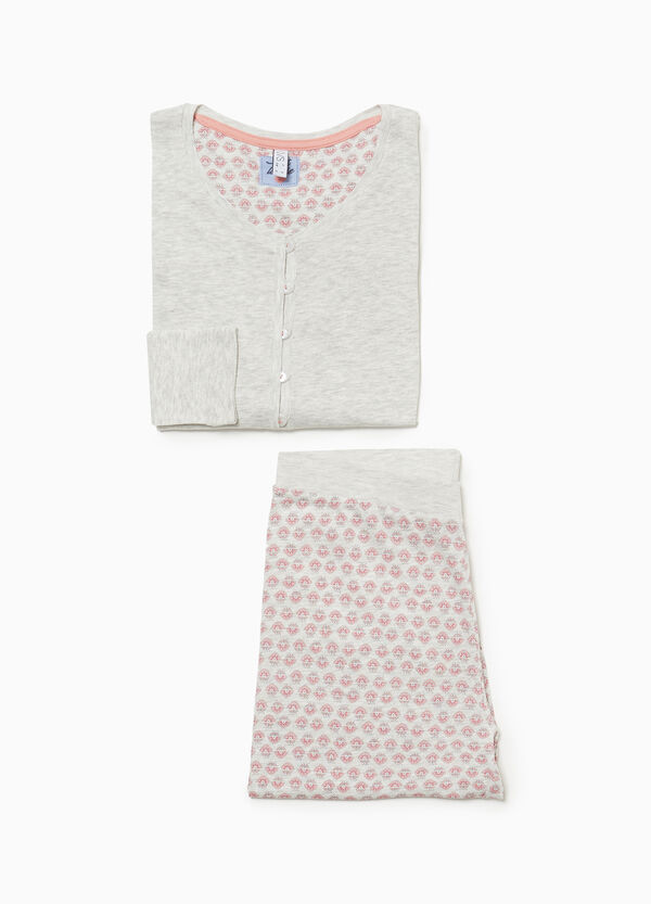 Cotton and viscose patterned pyjamas