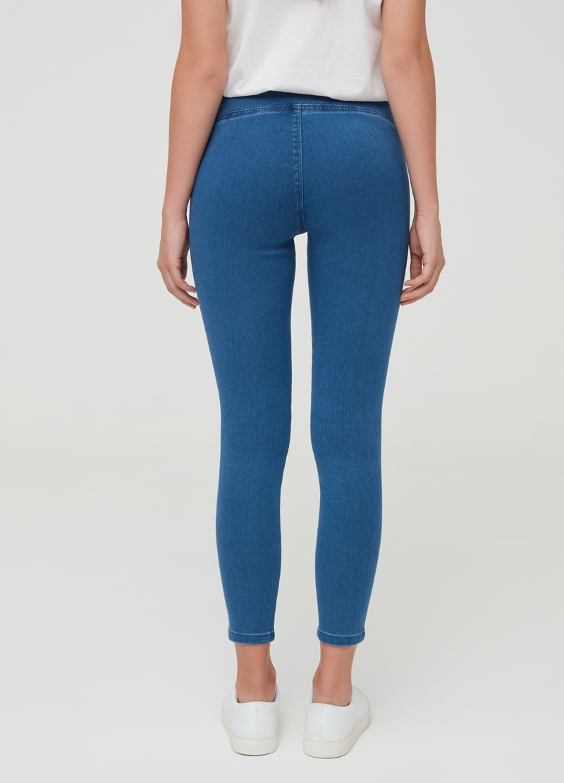Solid colour stretch jeggings image number null