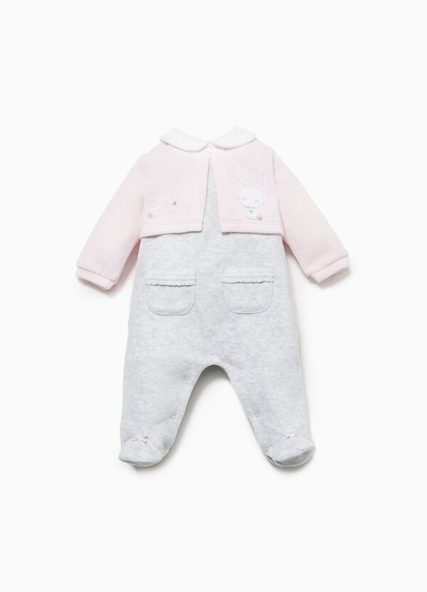 Faux layered cotton blend onesie