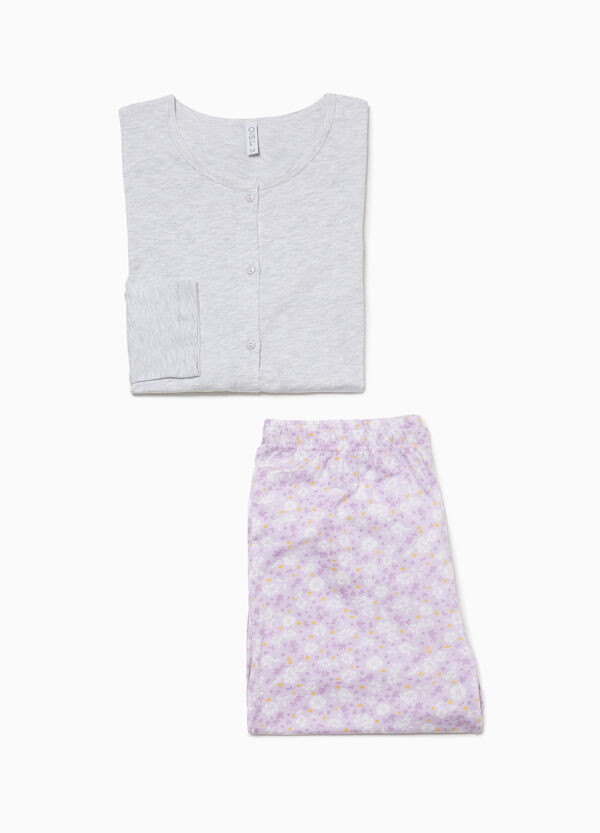 Floral cotton pyjamas with buttons