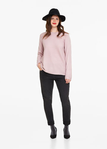Curvy striped pullover with weave