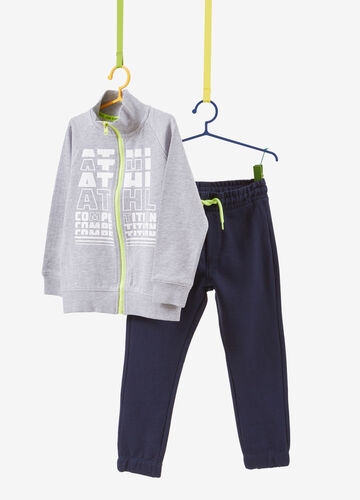 Solid colour cotton blend tracksuit