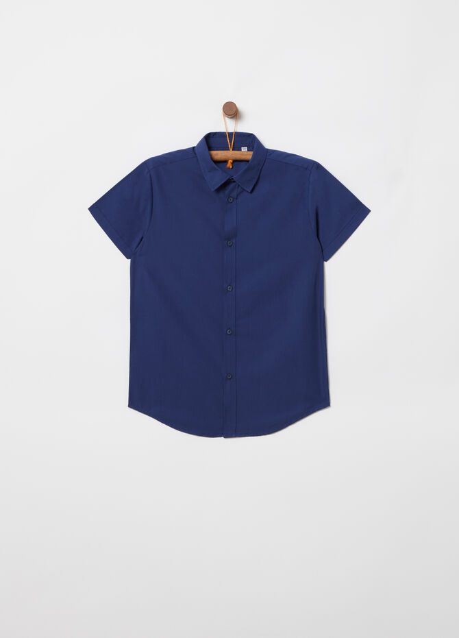 Short-sleeved poplin cotton shirt