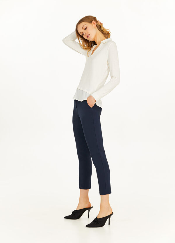Stretch elegant crop trousers