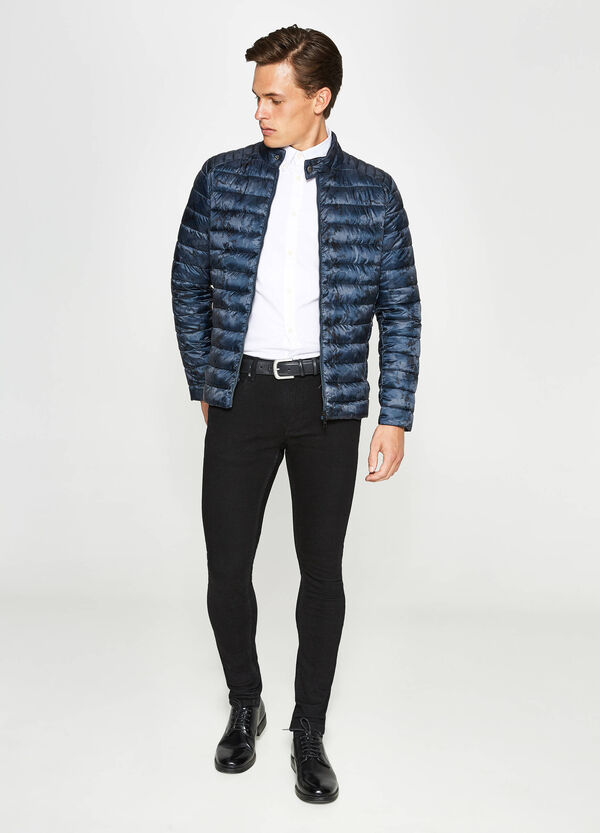 Patterned down jacket with zip