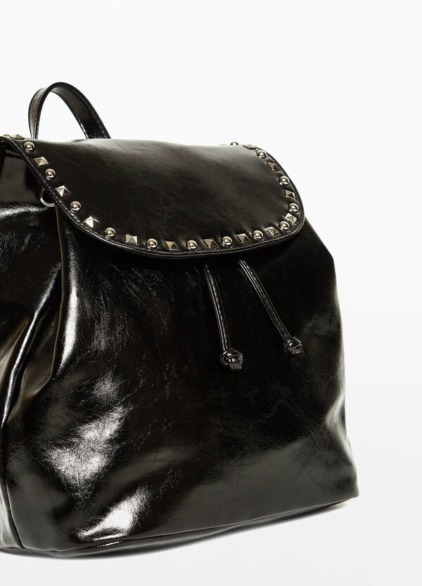 Shiny textured backpack with studs