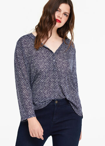 Curvy jersey T-shirt with pattern