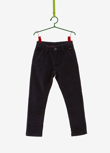 Solid colour velvet-effect stretch trousers