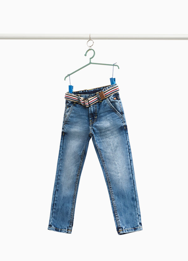 Misdyed-effect jeans with pockets