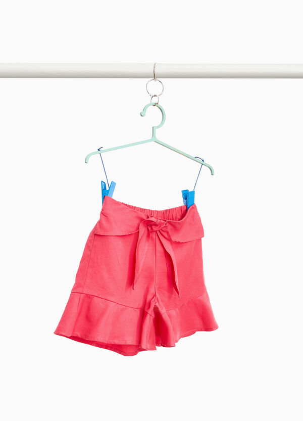 Shorts in 100% lyocell with flounce