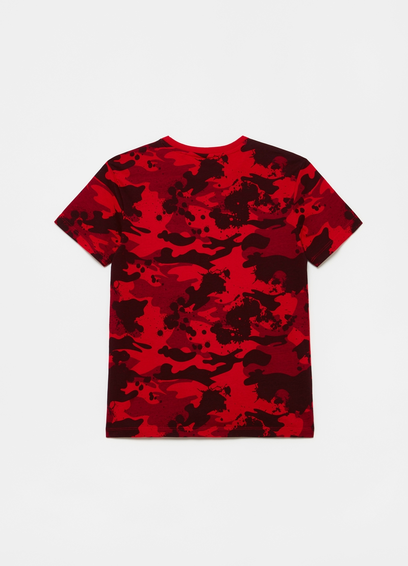 Camouflage T-shirt with skating motif print image number null