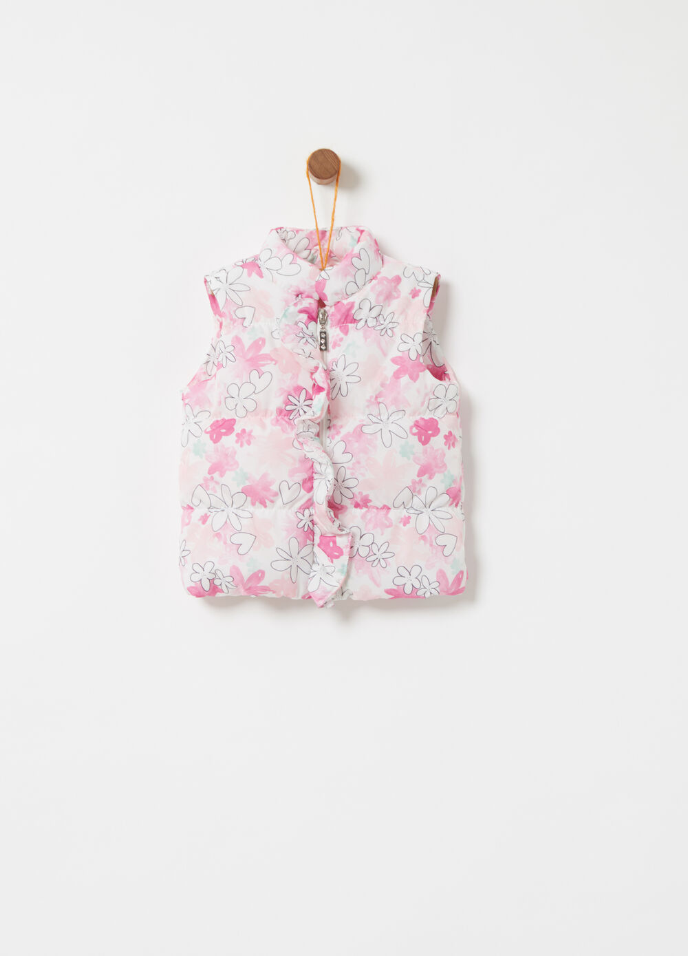 Padded gilet with floral frills