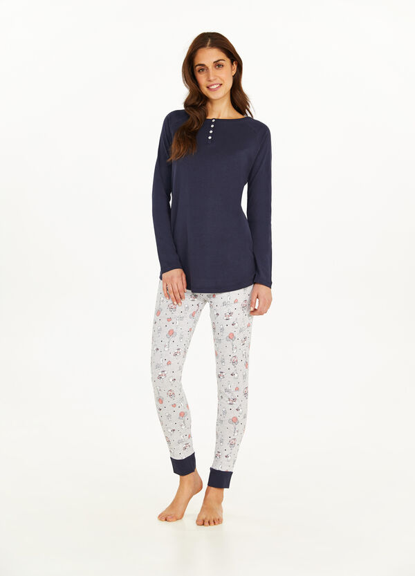 Cotton and viscose pyjamas with rabbit pattern