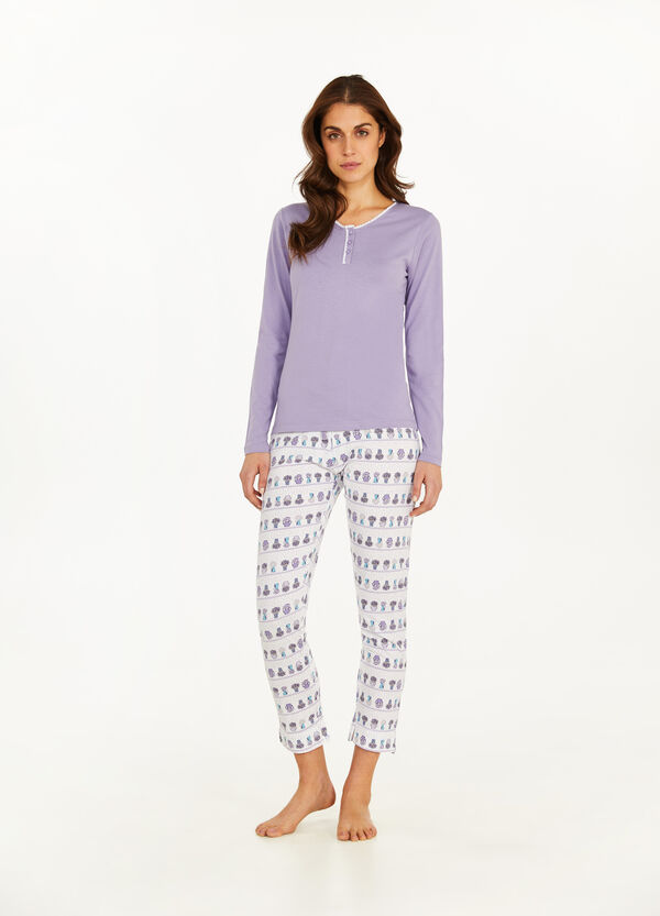 Patterned pyjamas in 100% cotton