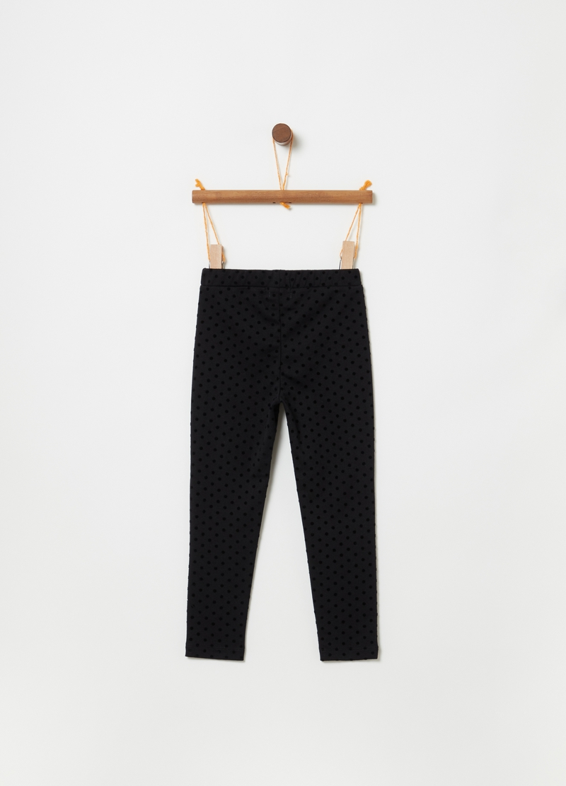 Jeggings stretch con stampa a pois image number null