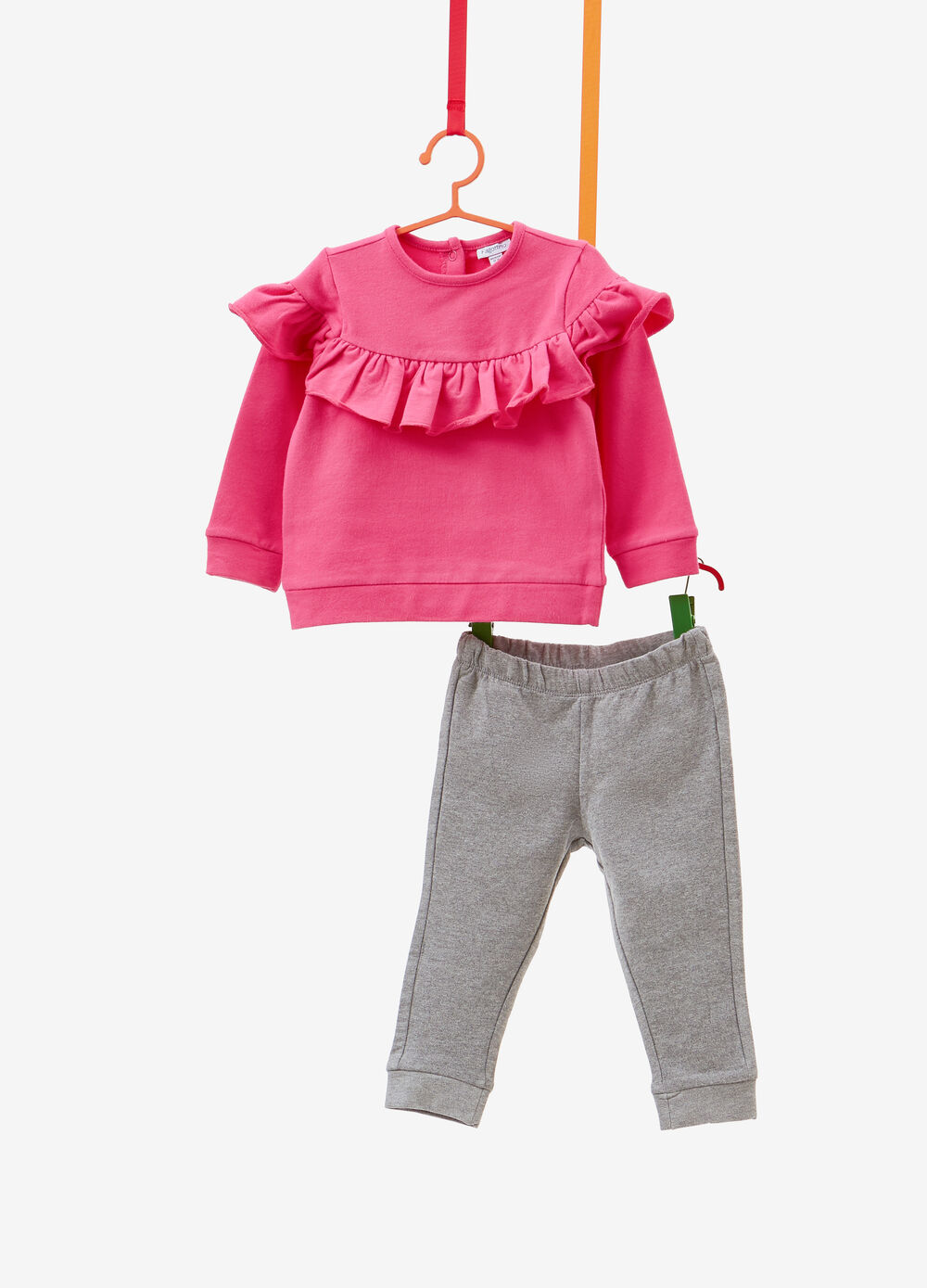 Stretch cotton tracksuit with flounce