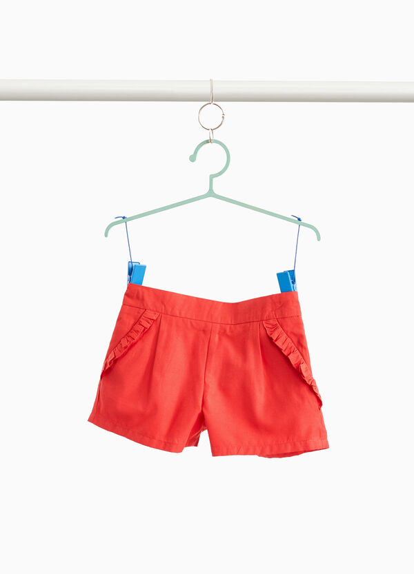 Cotton blend shorts with flounce