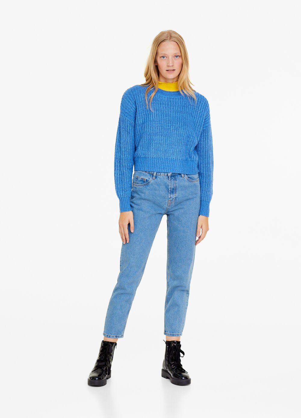 Solid colour mum-fit jeans