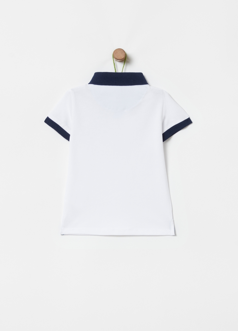 Stretch cotton polo shirt with double pocket image number null