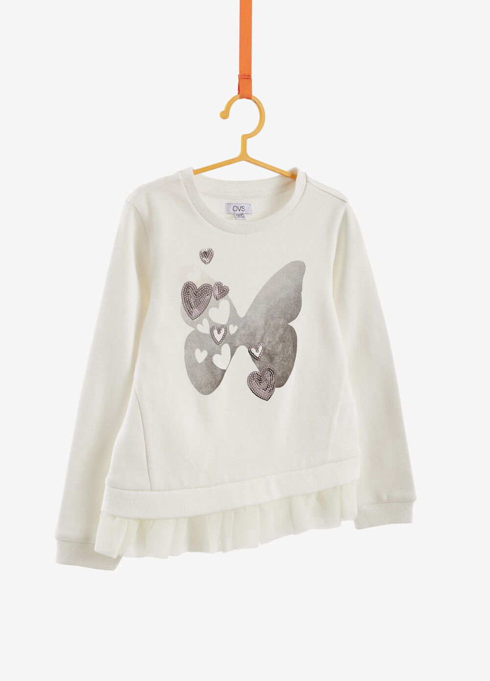 Sweatshirt in 100% cotton with print and flounce on the hem