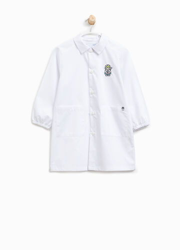 Cotton blend smock with patches