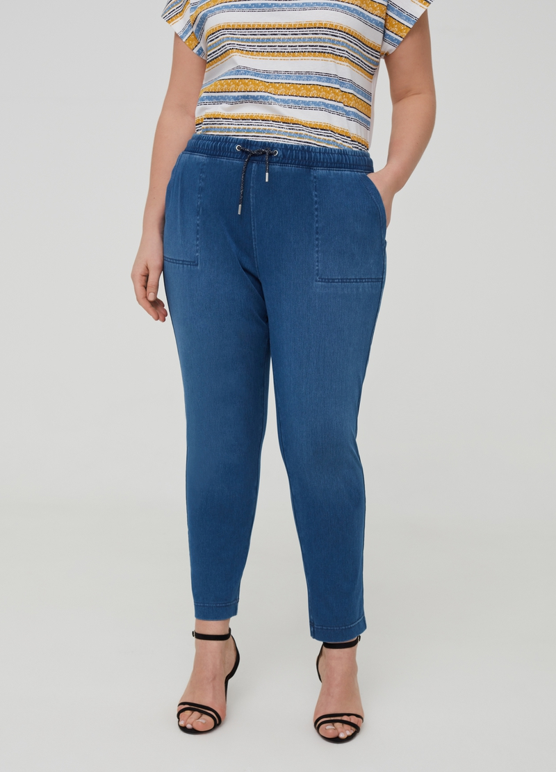 Curvy denim joggers with drawstring image number null