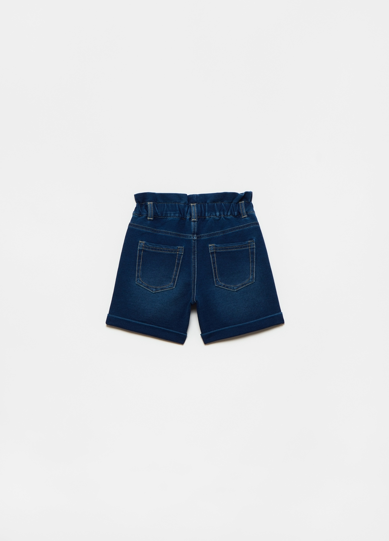 French terry denim Bermuda shorts image number null