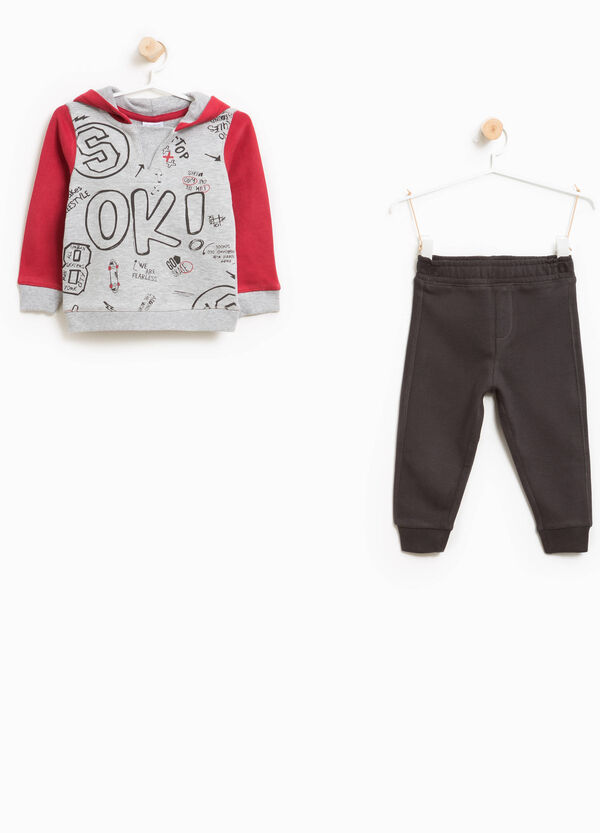 Cotton and viscose tracksuit with maxi print