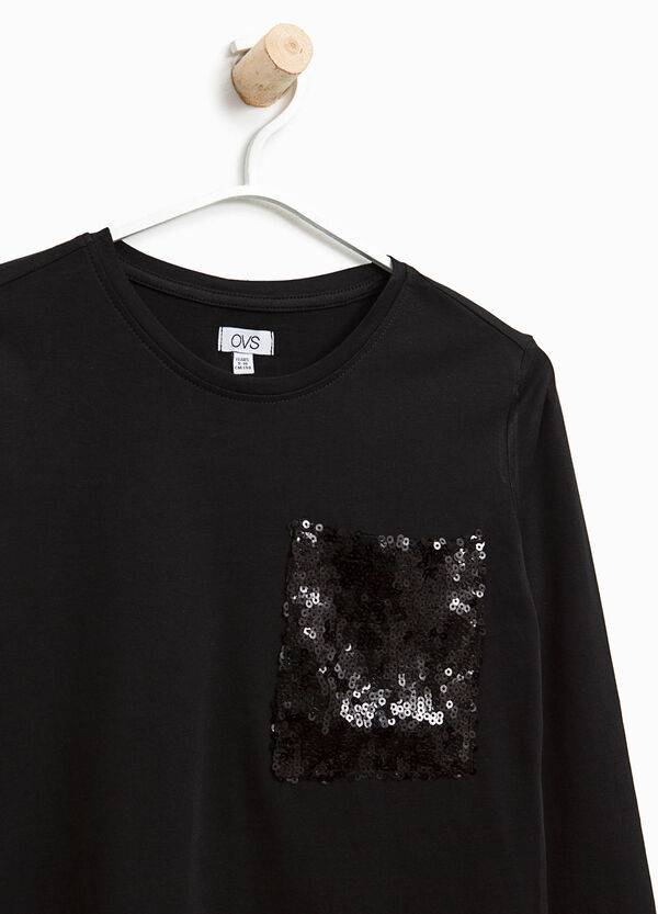 T-shirt with sequinned pocket | OVS