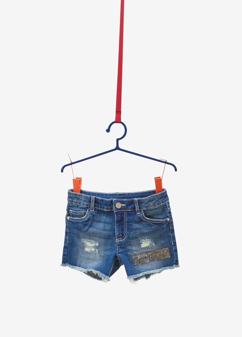 Worn-effect stretch denim shorts with sequins