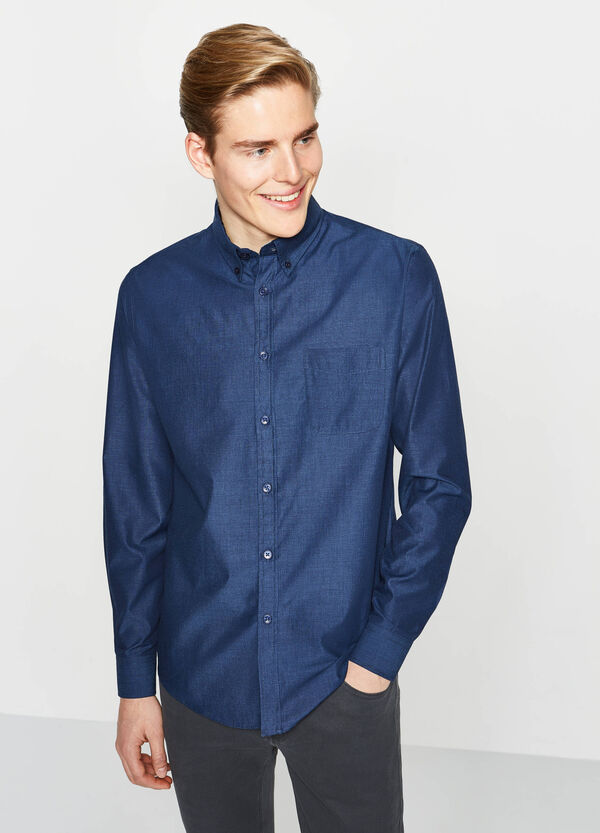 Solid colour regular-fit casual shirt | OVS