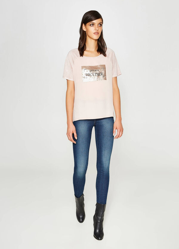 100% viscose T-shirt with sequins