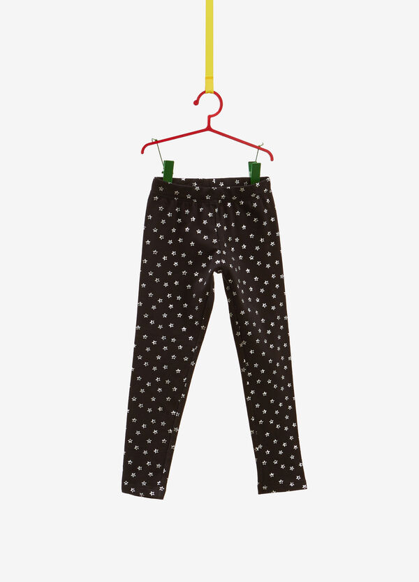 Stretch cotton leggings with glitter stars